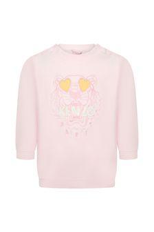 Kenzo Kids Baby Girls Pink Cotton Sweat Top