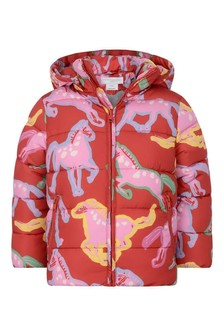 Girls Red Painted Horses Padded Jacket