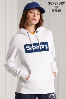 Superdry White Core Logo Workwear Hoody