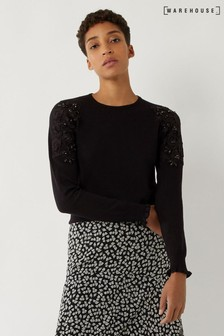 Warehouse Black Lace Embellished Ruffle Jumper