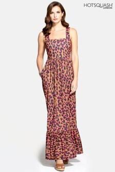 HotSquash Leopard Square Neck Maxi Dress