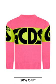 Girls Bright Pink Knitted Logo Jumper