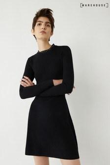 Warehouse Black Woven Collar Skater Dress