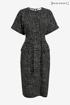 Warehouse Black Croc Print Shift Dress