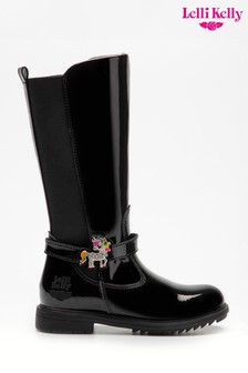 Lelli Kelly Black Patent Unicorn Boots