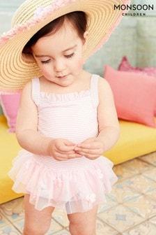 Monsoon Baby Seersucker Butterfly Skirt Swimsuit