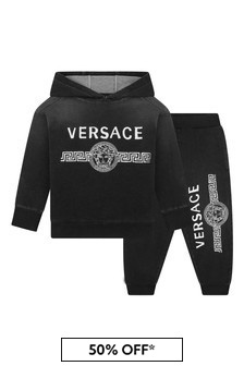Boys Black Cotton Logo Tracksuit