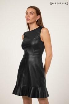Warehouse Ruffle PU Dress