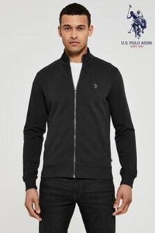 U.S. Polo Assn. Black Full Zip Funnel Neck Sweater