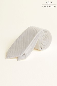 Moss London White Textured Tie