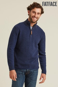 FatFace Blue Shelwick Textured Half Neck Jumper