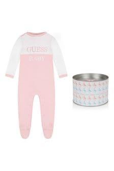 Girls Pale Pink Cotton Babygrow