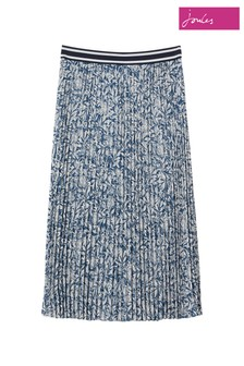 Joules Blue Eila Pleated Skirt With Elasticated Waistband
