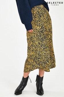 Selected Femme Yellow Speckle Print Juana Midi Skirt