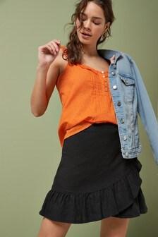 Linen Blend Ruffle Skirt