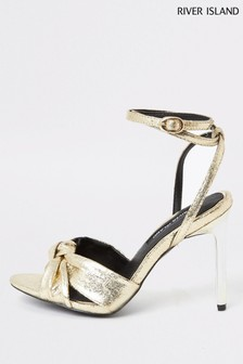 River Island Gold Knot Front Sandals