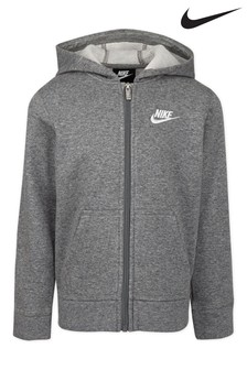Nike Little Kids Grey Full Zip Club Fleece Hoody