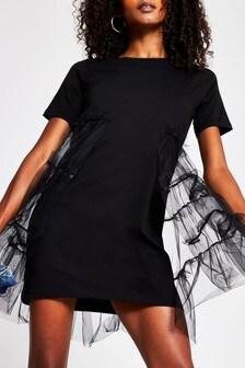 River Island Black Tulle Skirt Tee Dress