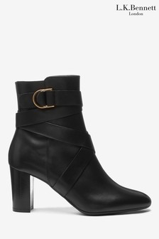 L.K.Bennett Black Raya Leather Ankle Boots