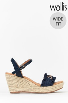 Wallis Whistle Wide Fit Navy Trim Ruffle Wedges