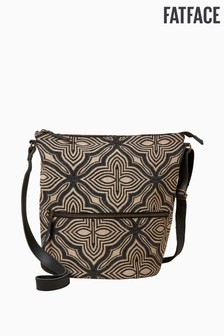 FatFace Black Geo Woven Tia Cross-Body Bag