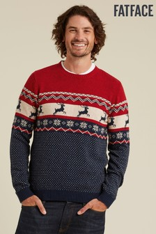 FatFace Red Stag Fairisle Pattern Crew Neck Jumper