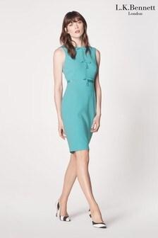 L.K.Bennett Blue Rosamund Bow Detail Hemmers Dress
