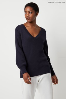 French Connection Blue Yasmina Mozart Knit V-Neck Jumper