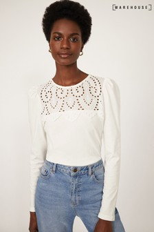 Warehouse White Embroidered Long Sleeve Top