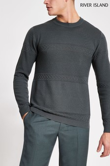 River Island Grey Mixed Stitch Knitted Crew Sweater