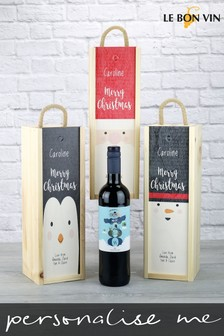 Personalised Malbec Wooden Gift Box by Le Bon Vin