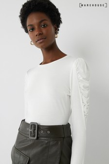 Warehouse White Puff Sleeve Top