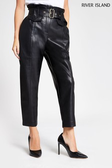 River Island Black Petite PU Misha Peg Trousers