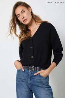 Mint Velvet Black Buttoned Cardigan