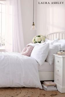 White Emma Seersucker Duvet Cover And Pillowcase Set