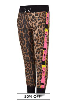 Girls Leopard Print Cotton Joggers