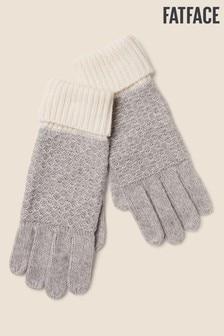 Szare rękawiczki z domieszką kaszmiru FatFace