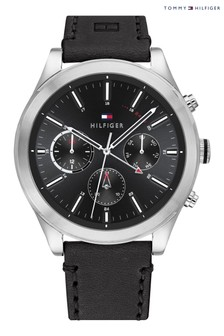 Tommy Hilfiger Watch with Black Leather Strap