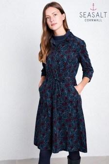 Seasalt Blue Clove Hitch Hammered Floral Dark Night Dress