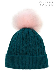 Oliver Bonas Cable Knitted Fun Pom Beanie Hat