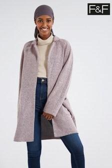 F&F Pink Textured Snit Coat