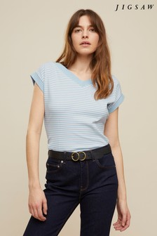 Jigsaw Blue Stripe Bardot V-Neck Top
