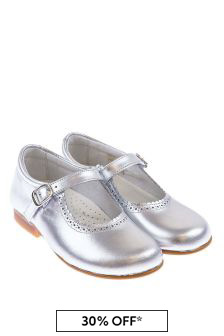 Andanines Girls Metallic Silver Scalloped Edge Mary Jane Shoes