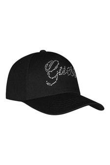 Girls Black Cotton Logo Cap