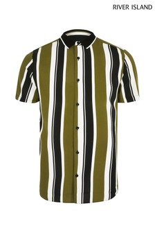 River Island Green Stripe Rib Collar Shirt