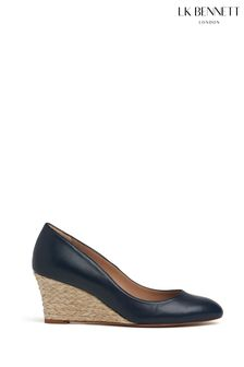 L.K.Bennett Blue Eevi Leather Wedges
