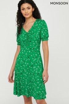 Monsoon Green Desree Ditsy Print Jersey Dress