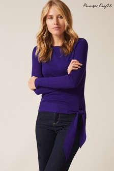 Phase Eight Purple Tessa Tie Side Merino Knit Cardigan