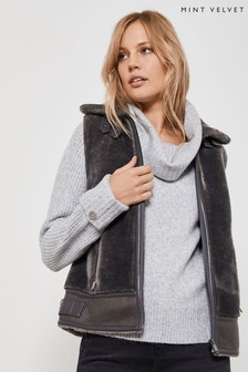 Mint Velvet Grey Smoke Faux Fur Mix Gilet