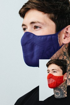Hype. Adults Navy/Red Knit Face Coverings Two Pack